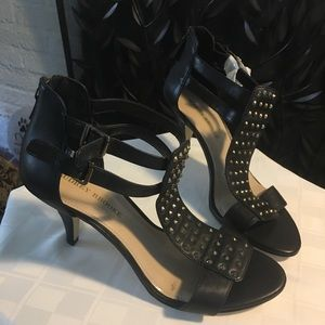 Audrey Brooke Black strappy heels with gold studs